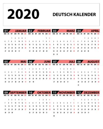 Tageshoroskop Kalender 2020